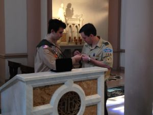 Alexander presented the Eagle Mentor Award to ASM Harper for his role in guiding Alexander's path to Eagle Scout